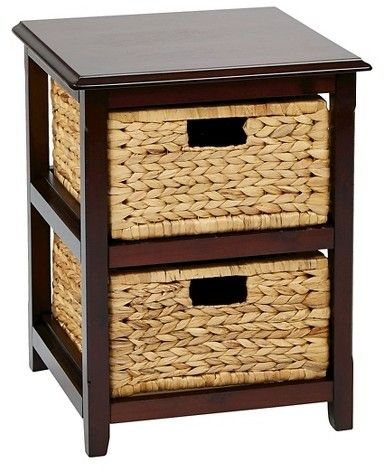 Office Star Seabrook Two-Tier Storage Unit With Espresso Finish and Natural Baskets