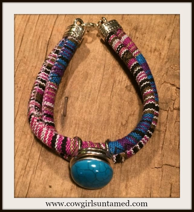 SOUTHWESTERN FLAIR BRACELET Multi Color Blue Serape Stripe Double Strap Silver Snap On Bracelet  #serape #southwestern #western #cowgirl #bracelet #snapon #snap #diy #customize #tuqruoise #silver #boutique #fashion #beautiful #horse #rodeo #jewelry