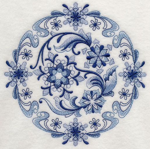 Large Blue Willow Floral Round Machine By