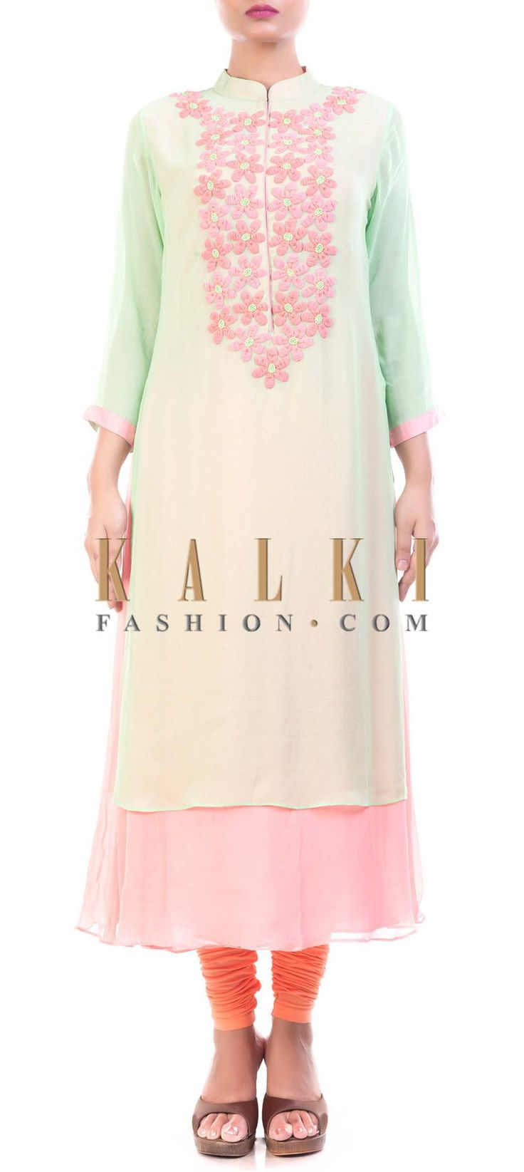 Buy Online from the link below. We ship worldwide (Free Shipping over US$100) Price- $139 Click Anywhere to Tag http://www.kalkifashion.com/green-and-pink-high-neck-tunic-with-chiffon-flowers.html