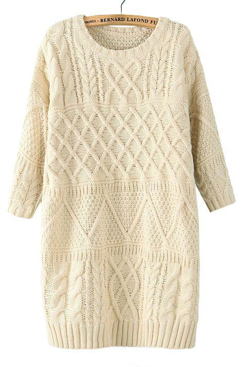 Diamond lattice twist round neck knit sweater