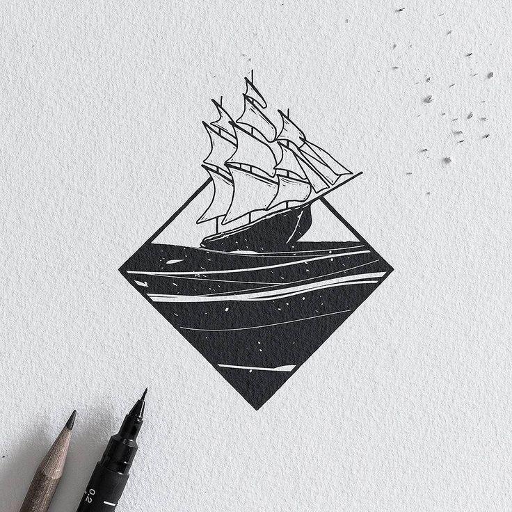 White Sails. #graphic #design #illustration #sketch #penandink #inkwork #blackwork #sails