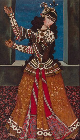 dancing girl with castanets 19s. Qajar painting.