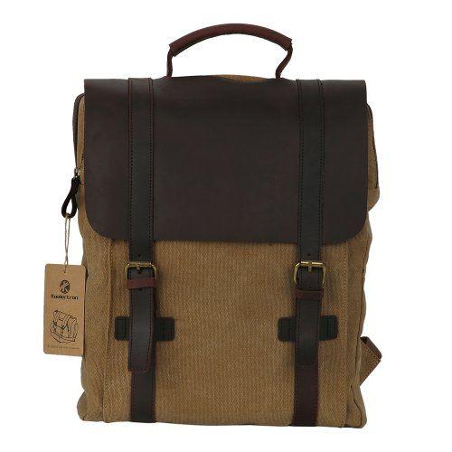 Koolertron-Zaino-Pelle Tela Scuola Viaggi Bookbag Campeggio Zaino Computer portatile borsa (Cachi)