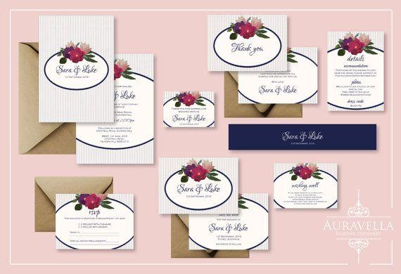 Printable wedding invitation suite. wedding Invitation Set. Stripes invitation. wedding invite. Save The Date. Floral Wedding Invitation