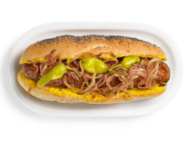 Maxwell Street Polish Sausage Sandwiches : Jeff Mauro uses just a few key toppings to give these kielbasa sandwiches their Chicago edge: caramelized onions, yellow mustard and pickled sport peppers.