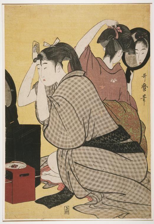 kitagawa utamaro hairdressing. kitagawa, utamaro, 1753?-1806 -- artist kitagawa utamaro hairdressing r