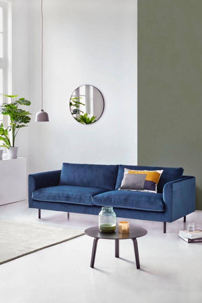 Genial Ambiance Naturelle Et Apaisante Dans Un Salon Blanc, Vert Et Bleu, Canapé Bleu  Marine