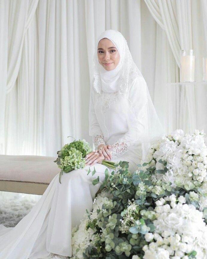 Simple Wedding Dress Kurung White Gaun Pengantin Hijab Pakaian Pernikahan Pengantin Berhijab