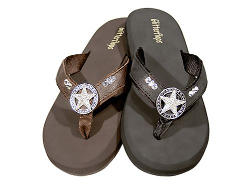 Crystal and Comfort: Texas Star A little bit of heaven for your feet in these Orthopedic Flip Flops that form to your feet for extreme comfort. Adorned with Swavosrki Crystals. Carefully hand placed onto each shoe. Memory Foam comfort, soft leather and nylon, with no chaffing. These truly are amazing... the ultimate in elegance.