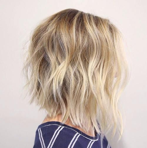 wavy shaggy brown blonde bob