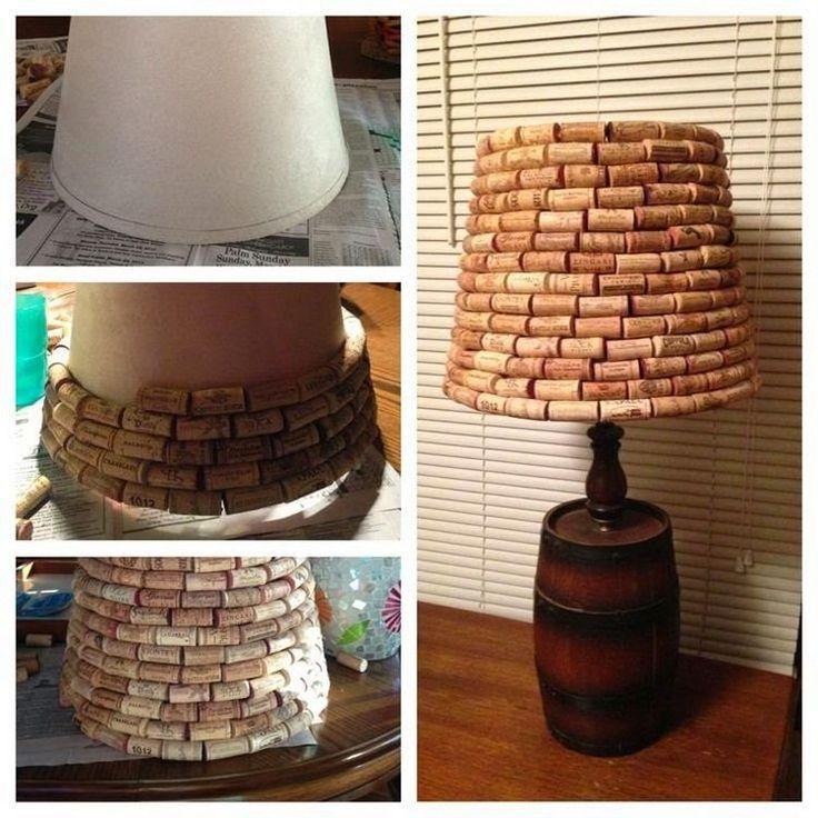 lampenschirm mit Weinkorken bekleben