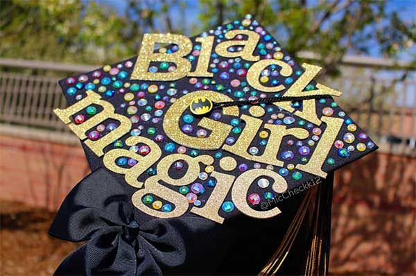 I'll be honest with you guys: I had no idea that decorated graduation caps were such a big thing. I know, don't I sound like your typical mom trying to be cool by pointing out Internet trends you've known about for months? Cute! Anyway, back in my day (cue crickety old man voice), we all just wore our grad caps as they were. Sure, some super creative people added a cool extra tassel or their initials or something, but no one was full on painting their caps.