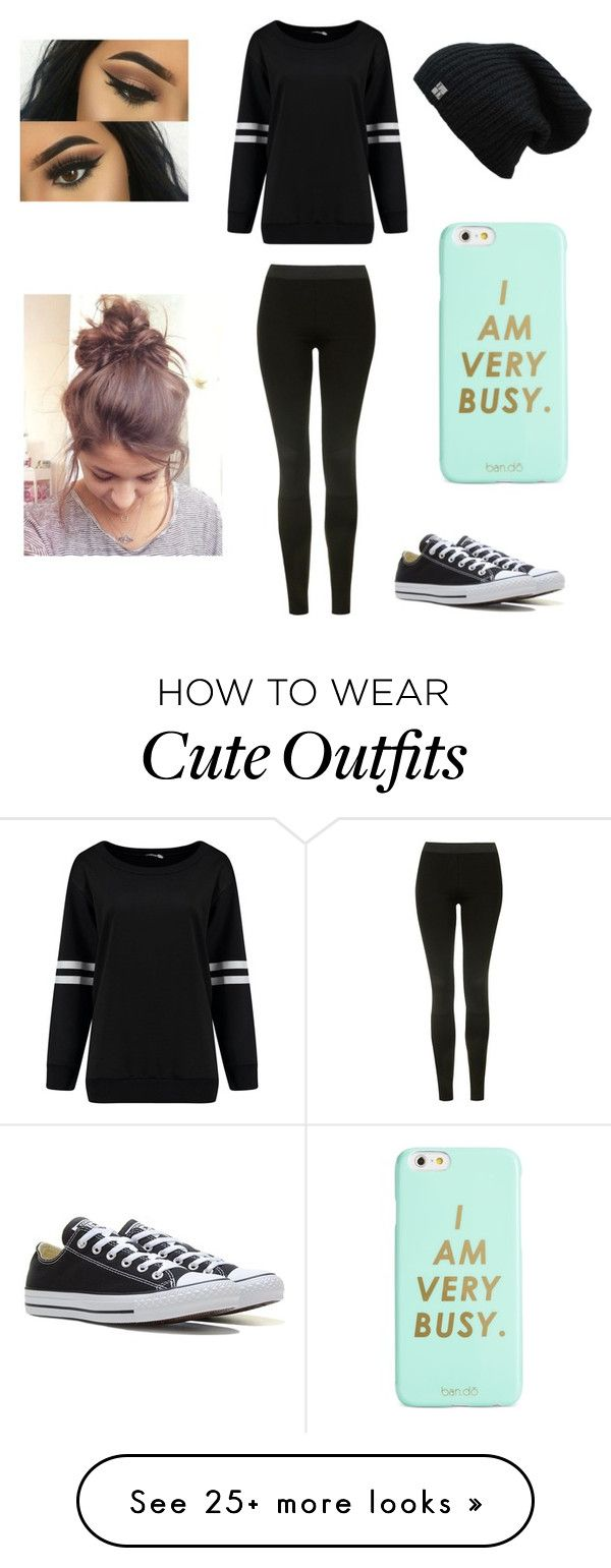 """Lia's Outfit 1"" by hello120 on Polyvore featuring Topshop, Converse and ban.do"