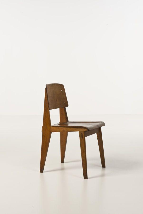 jean prouv 1901 1984 mod le standard chaise bois date de cr ation 1950 h 81 l 42 p 48 5. Black Bedroom Furniture Sets. Home Design Ideas