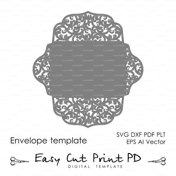 Scroll Lace Wedding Envelope pattern Template от EasyCutPrintPD