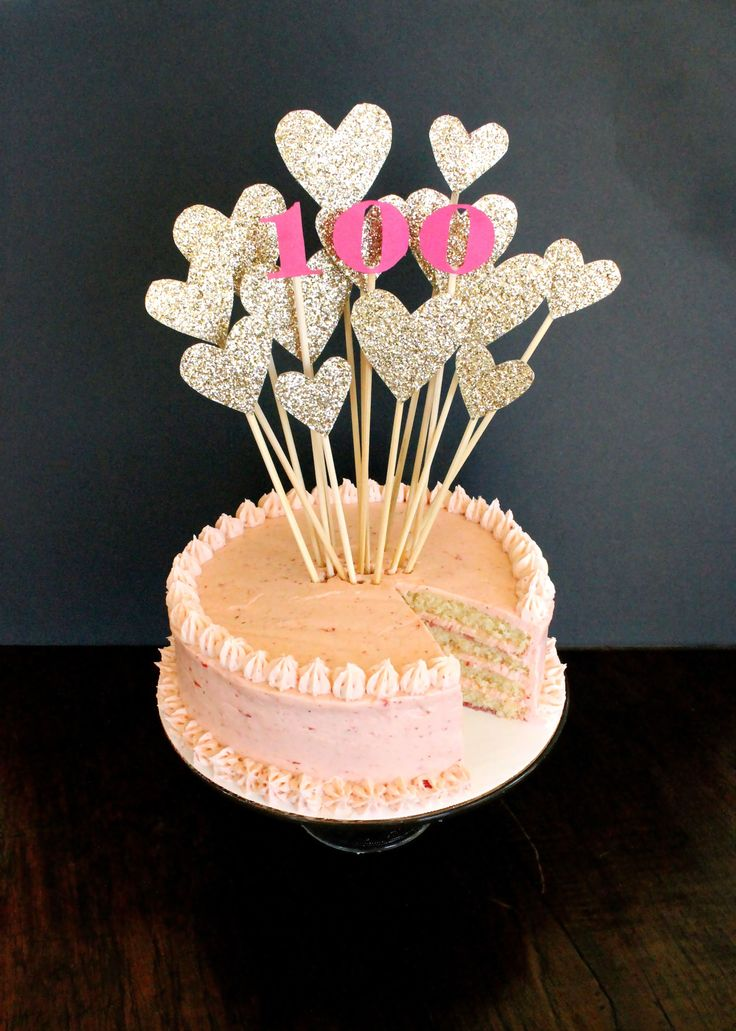 This mass of glittered hearts makes me smile...oh, and the Strawberry Lemon Layer Cake, too!
