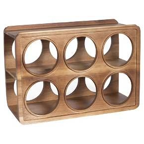 Beautifully crafted with midcentury inspirations, the Acacia Wood Wine Rack - Threshold has size openings for holding your prized wine selections perfectly. Crafted hardwood wine rack has elegant curves and is sturdily made; start your own wine cellar with this handsome freestanding wine rack or use it to display bottles on your home bar.