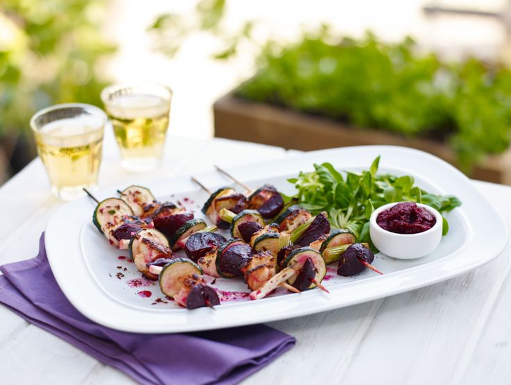 Simple summer dish. Try courgettes, celery and infused beetroot on a skewer. Just pop it on the BBQ! #BeetrootRecipe