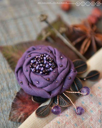Брошь цветок «Вечерняя роза». Купить брошь ручной работы. Купить брошь цветок из…