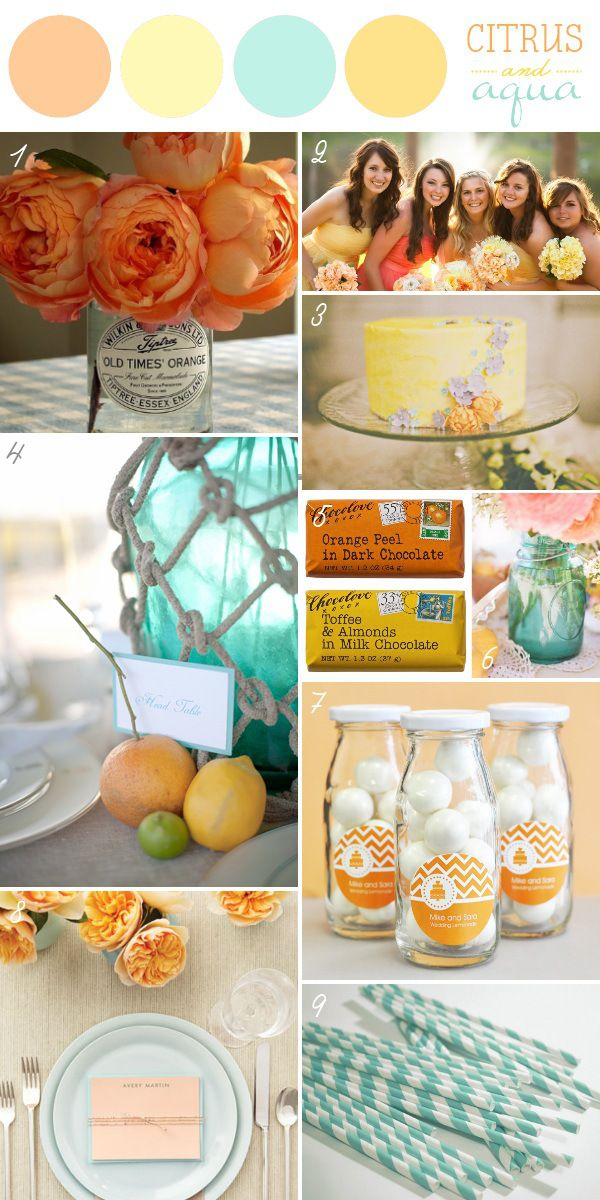 Coral and Teal.  http://www.thebridelink.com/blog/2013/04/03/spring-wedding-ideas/