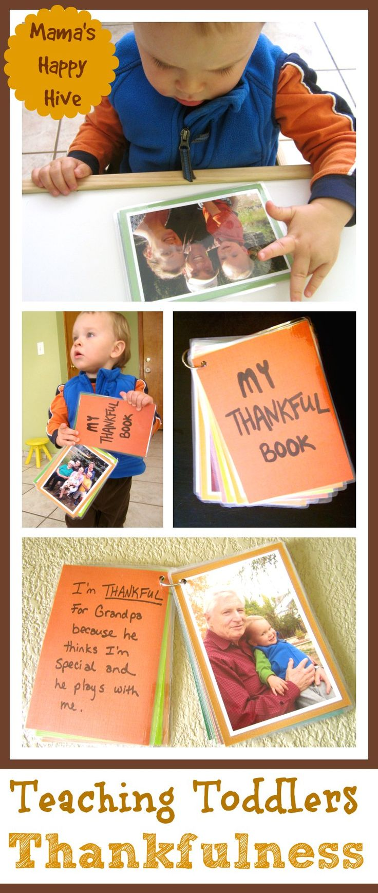This endearing DIY Thankful Book is a tangible way for teaching toddlers thankfulness. It is laminated to be toddler proof for lots of hands-on playing. - www.mamashappyhive.com