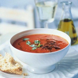 A splash of olive oil and fresh basil makes this simple soup oh-so special