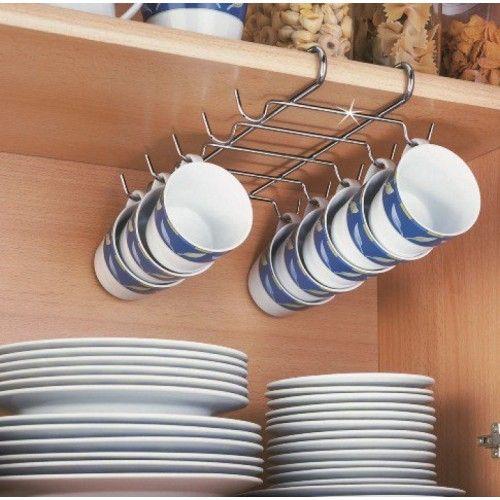 Suporte de armário para 10 xícaras - aço cromado