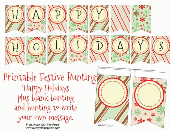 Printable Christmas Bunting  Holiday Bunting  by AwayWithThePixels