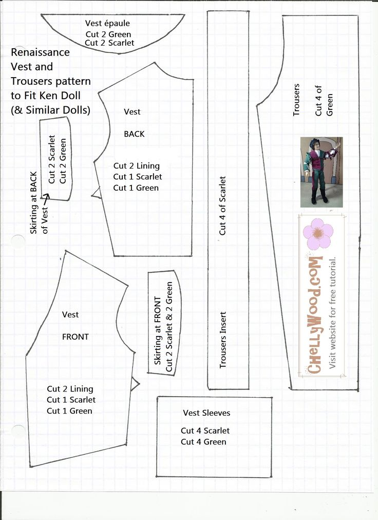 pattern for bicolor renaissance jacket and pants for ken