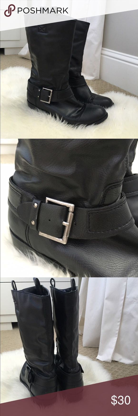 Black Moto Boots Vegan leather Style & Co Moto boots. No visible signs of wear, worn only a few times. Rubber sole and side zippers on the interior of the leg. Style & Co Shoes Combat & Moto Boots