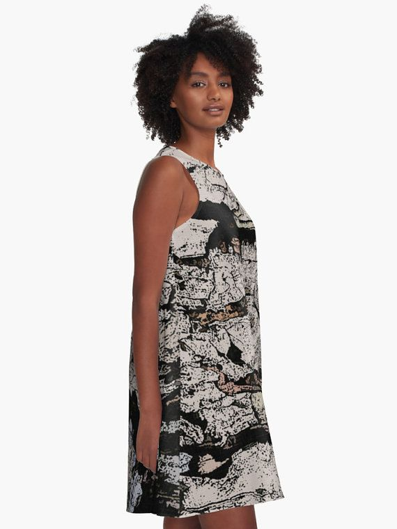 A-line Printed Dress, Rocky Mountain, oversized dress, oversize tunic, loose dress, casual dress, sporty look, unique pattern straight from artists, summer design.  AD0008 ... #fashion #style #trending #etsy #clothing