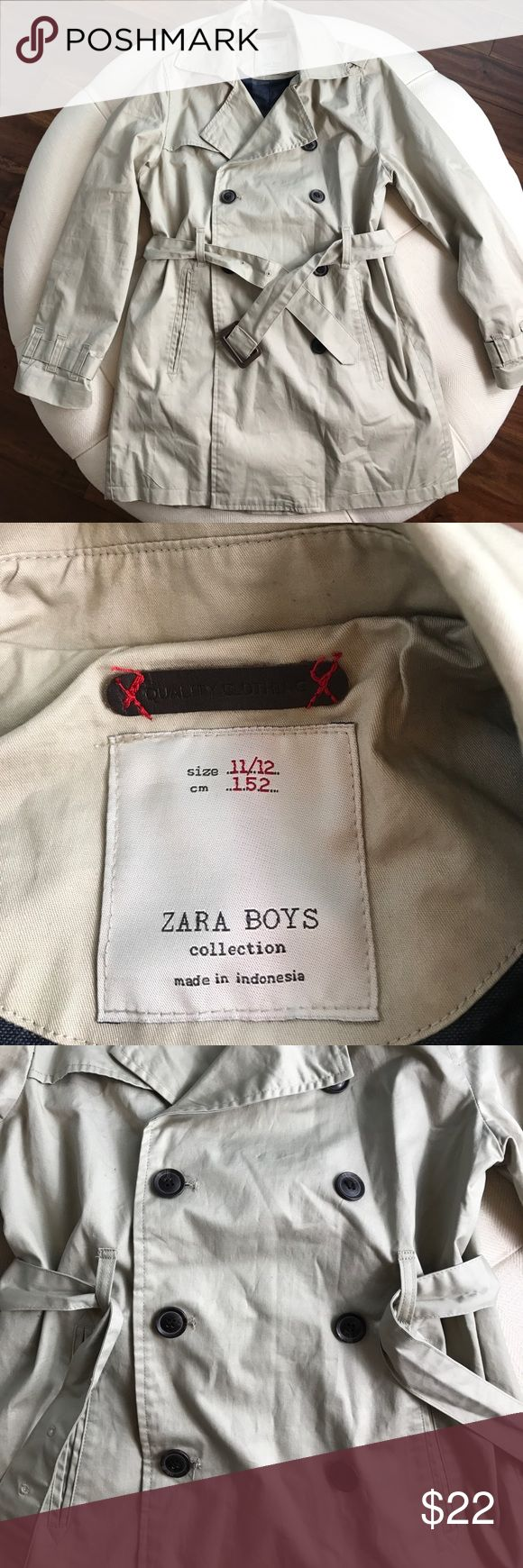 Zara Boyd Trench Coat Size 11/12 Fully lined Boys coat. Front pockets and button and belt closure. Sooo cute! Small mark in the front that will easily come off. The coat is in great condition. Zara Jackets & Coats
