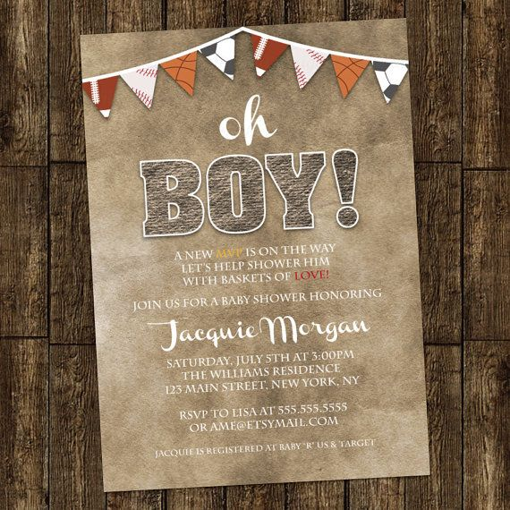 Sports Bunting Boy Baby Shower Invitation Digital Printable or Printed, ANY color ANY wording