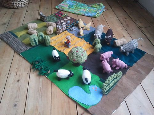 Farm and animals: fabric, knit, crochet