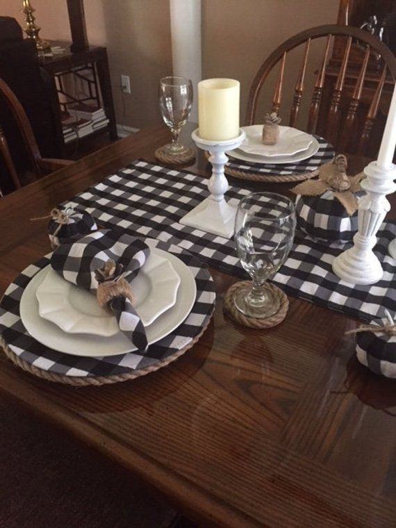 Beautiful And Versatile Black And White 1 Squared Etsy Dining Table Decor Buffalo Check Table Runner Dining Room Table Decor