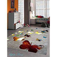 Enfants Jeu de tapis Design enfants tapis tapis papillon avec contour coupé Marron Beige Rouge Orange Crème Jaune Noir Turquoise Vert Größe 160x230 cm