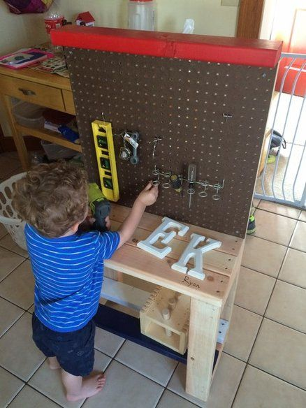DIY $25 Toddler Workbench using 2x4's and pegboard