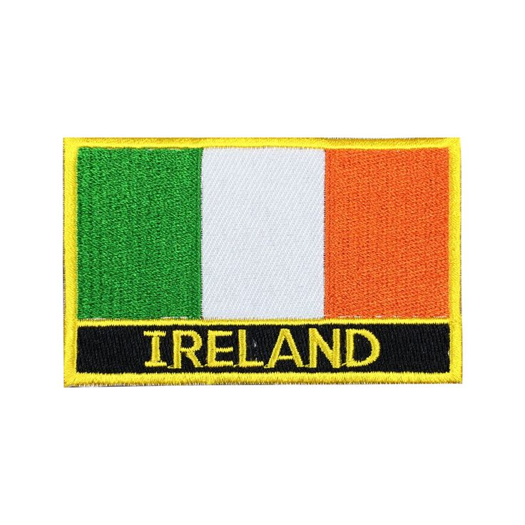 Ireland Flag Patch Embroidered Patch Gold Border Iron On patch Sew on Patch Bag Patch meet you on Fleckenworld.com