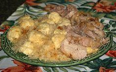 How to Make German Recipe of Pork Roast, Sauerkraut and Dumplings http://www.painlesscooking.com/german-recipes.html