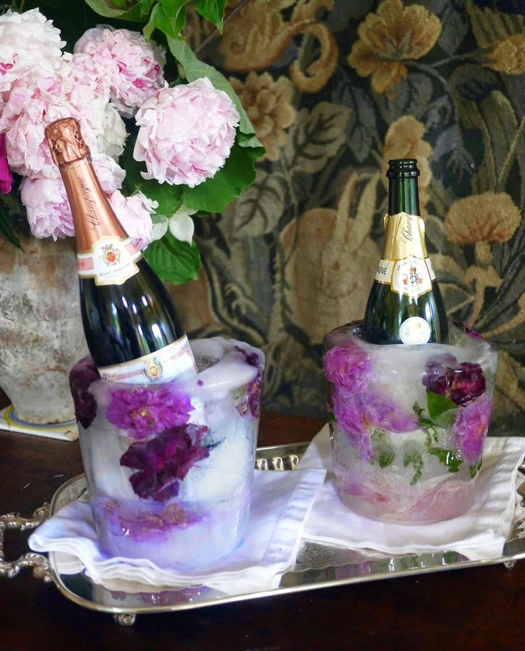DIY Floral Ice Bucket Cooler for Wine, Champagne and Spirits