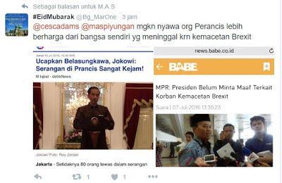 "Bereaksi Keras Terhadap Serangan Paris Netizen: Jokowi Lebih Hargai Nyawa Orang Perancis Daripada Nyawa Rakyat Indonesia  [portalpiyungan.com]Joko Widodo menyampaikan belasungkawa bagi para korban serangan di Nice Prancis. Belasungkawa disampaikan melalui cuitan akun Twitter pribadinya pada Jumat 15 Juli 2016. ""Serangan di Prancis sangat kejam. Indonesia bersatu dalam solidaritas. Belasungkawa untuk korban dan rakyat Prancis - Jkw"" kicaunya melalui akun twitter @jokowi sekitar pukul 14.30…"