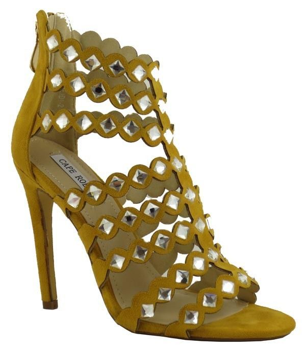 New Women Mustard Open Toe Zip Up Ankle High Sandle Stilettos Heels with Studs