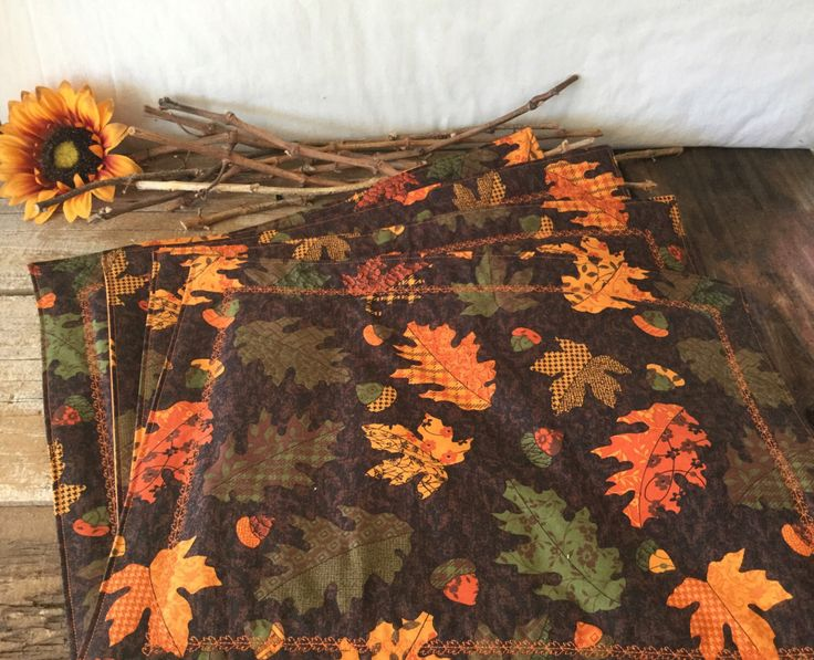 Autumn Placemats, Thanksgiving Placemats, Fall Leaves Fabric Placemats, Orange Placemats, Woodland Decor, Handmade Placemats, Brown Placemat by DarkRidgeCreations on Etsy https://www.etsy.com/listing/483274047/autumn-placemats-thanksgiving-placemats