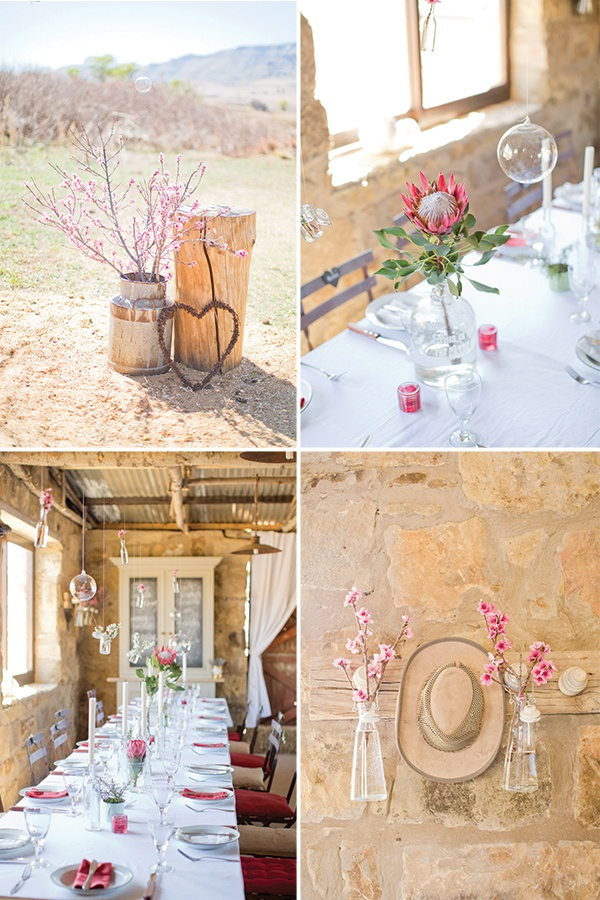 This is just gorgeous styling for a romantic rustic weddng. Magnolia Rouge: South African Wedding by Rensche Mari