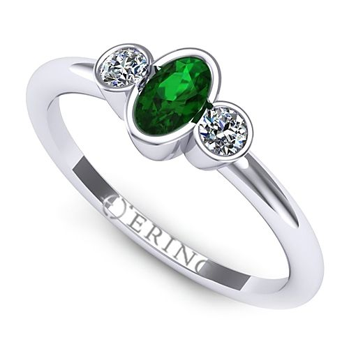 Inel logodna L89ASM inel cu diamante si smarald
