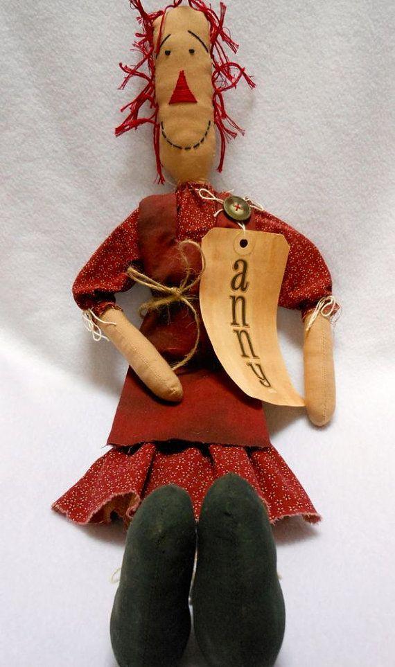 Примитивная Кукла Энни в темно-красное платье печати тряпкой по KatesCache
