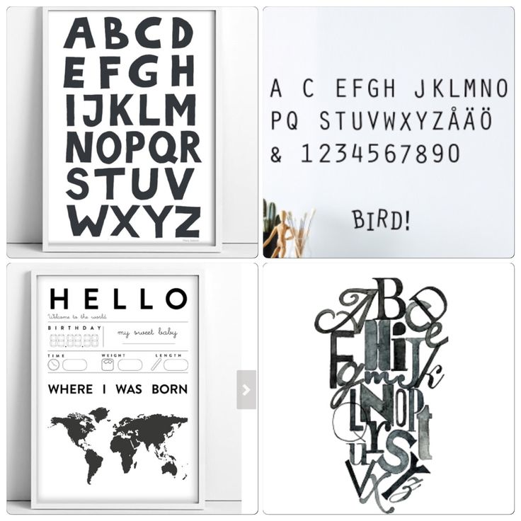 Tellkiddo: alfabet black ABC print children illustration 30*42cm 127:- Nursery print 30*42cm 127:- Ellos: väggdekor alfabet 167*50cm 279:-  Poster ink letter 50*70cm 375:-