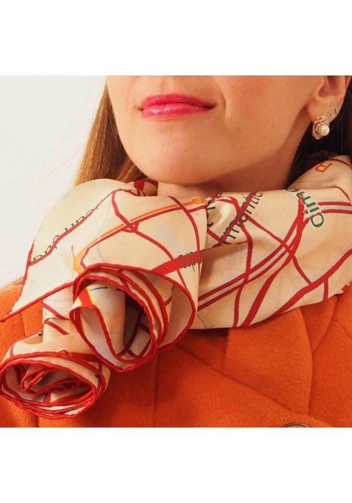 "Silk scarf - Map of Paris ""orange streets"". Premium quality silk, limited edition, swiss brand"
