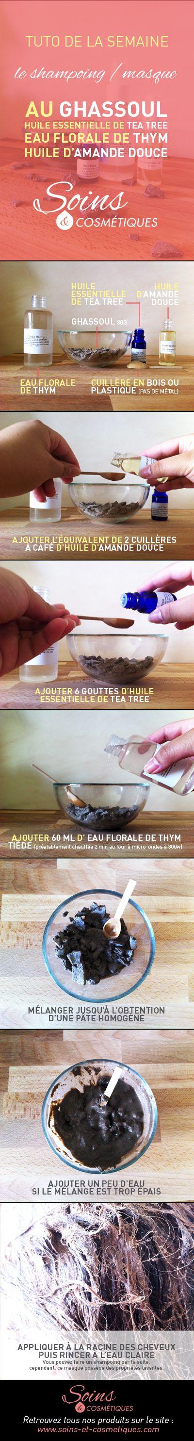 Recette de shampoing / masque NATUREL, à base de Ghassoul, d'huile d'Amande Douce, d'huile essentielle de Tea Tree, et d'eau florale de Thym. Excellent pour le cuir chevelu - 100% naturel !!!